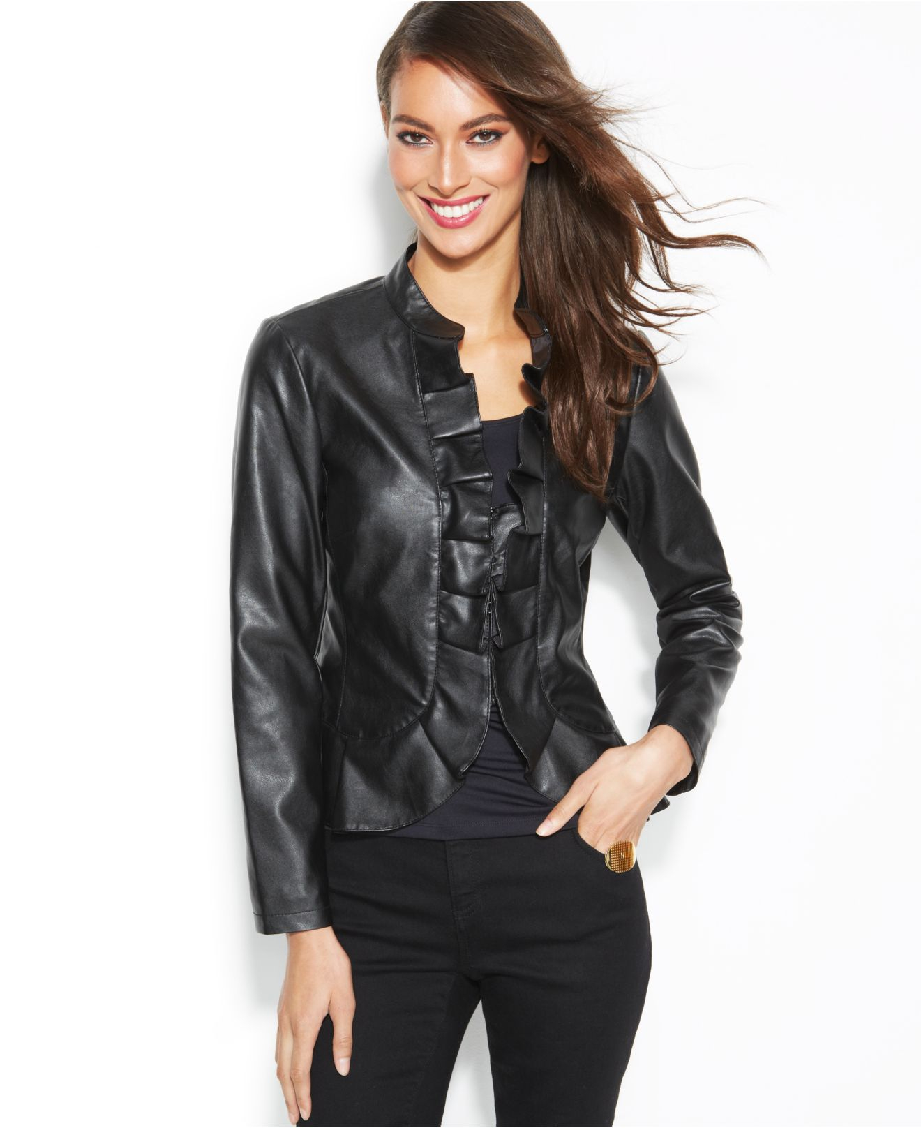 Lyst - Inc International Concepts Faux-Leather Ruffle Jacket In Black-7610