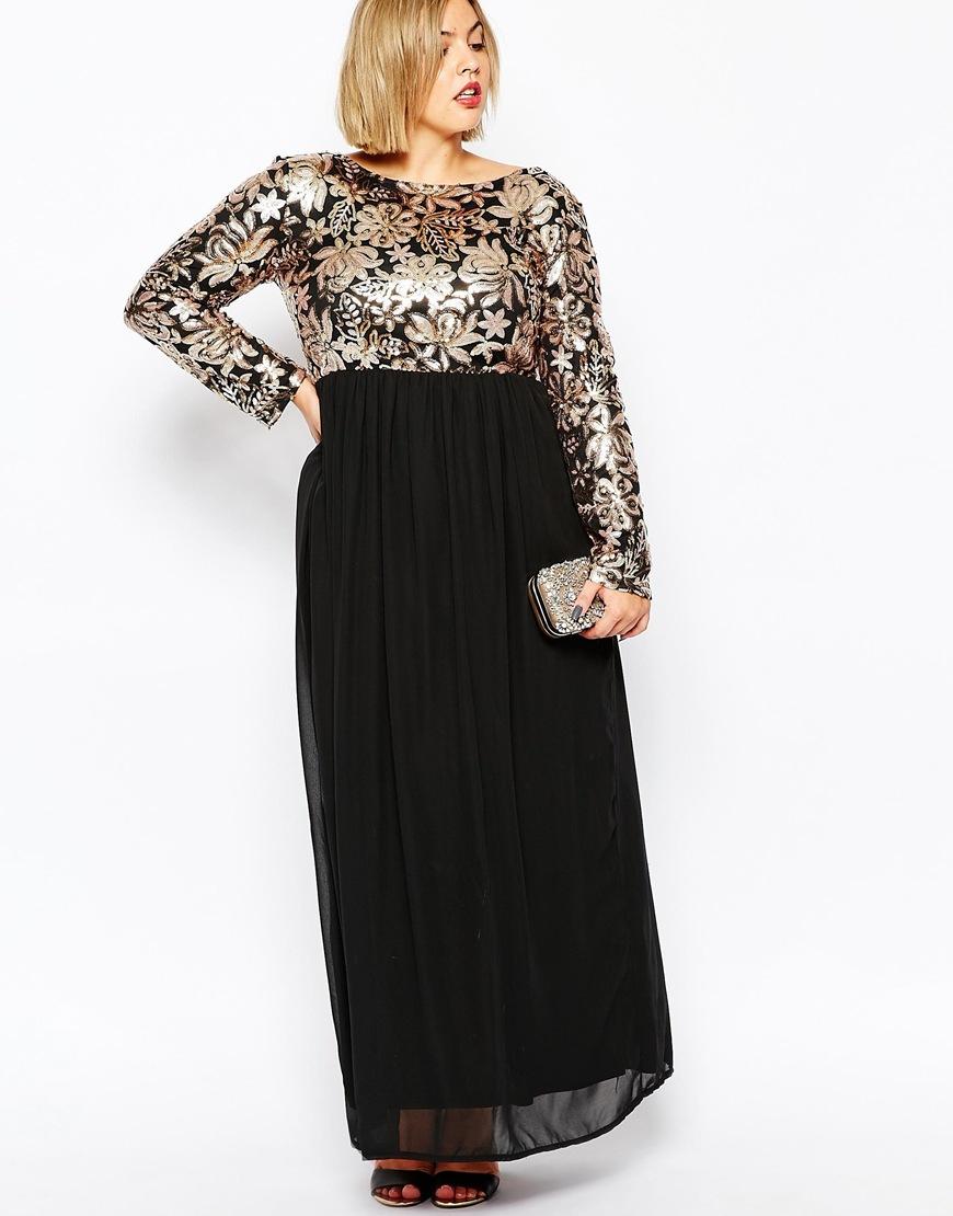 Gold plus size maxi dresses