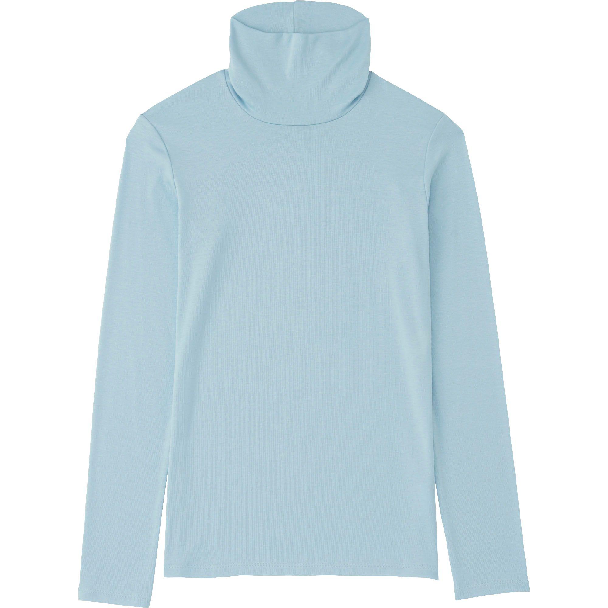 Uniqlo blue women supima cotton modal turtleneck long for Supima cotton dress shirts