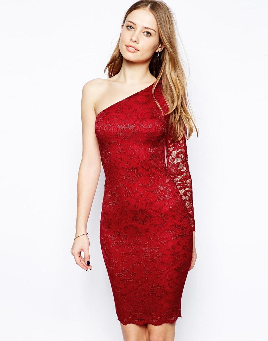 Ax Paris One Shoulder Lace Bodyconscious Dress in Red
