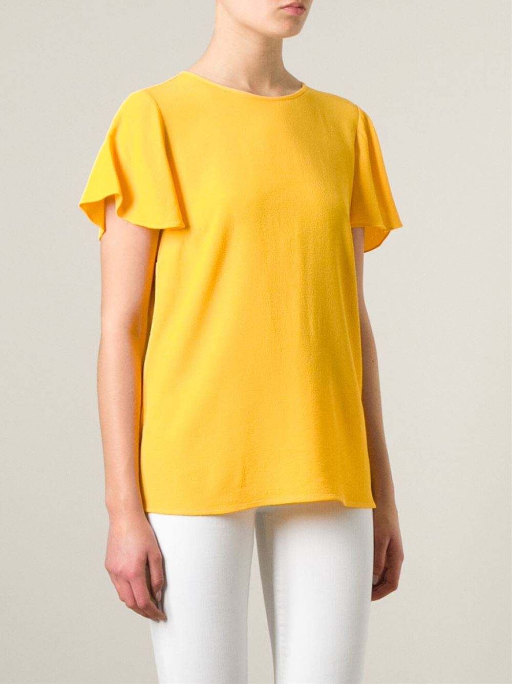 michael michael kors yellow back zip blouse lyst. Black Bedroom Furniture Sets. Home Design Ideas
