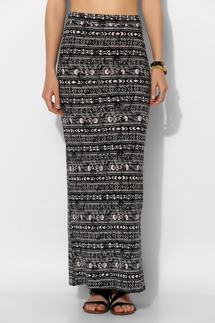 Sparkle & fade Geoprint Knit Maxi Skirt in Black | Lyst