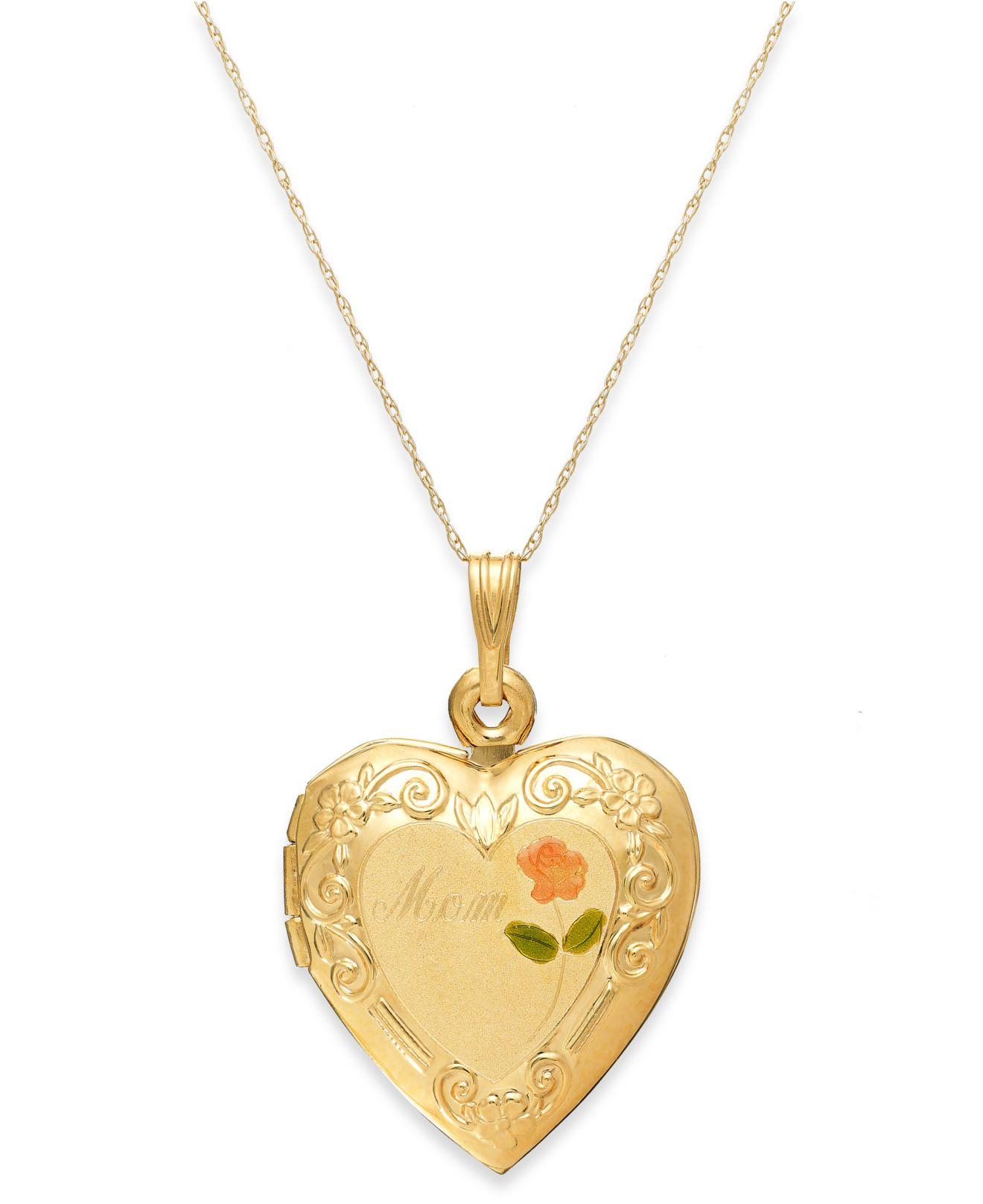 macy 39 s engraved mom rose heart locket necklace in 14k gold. Black Bedroom Furniture Sets. Home Design Ideas