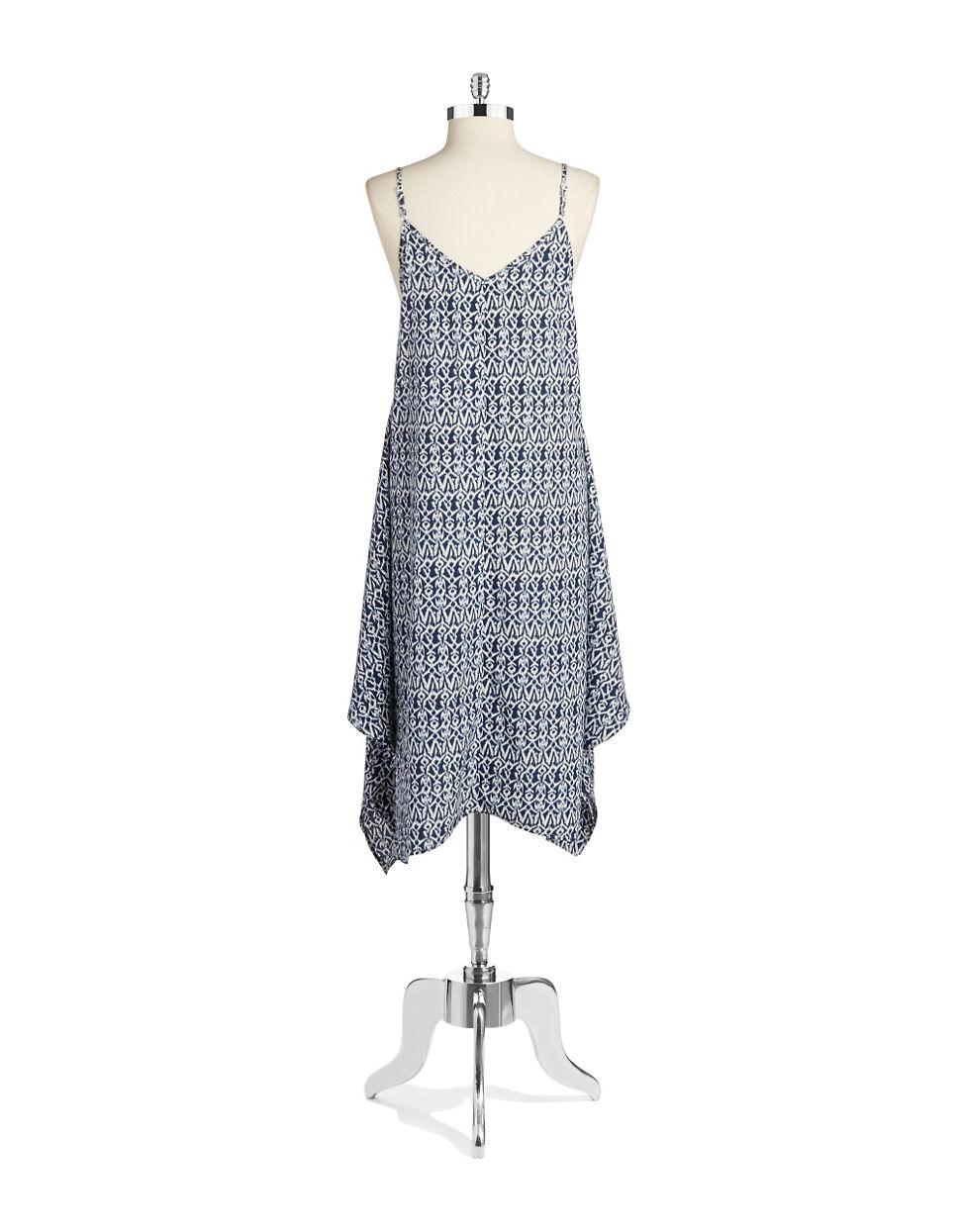 Lyst Lord Taylor Printed Handkerchief Hem Dress In Blue