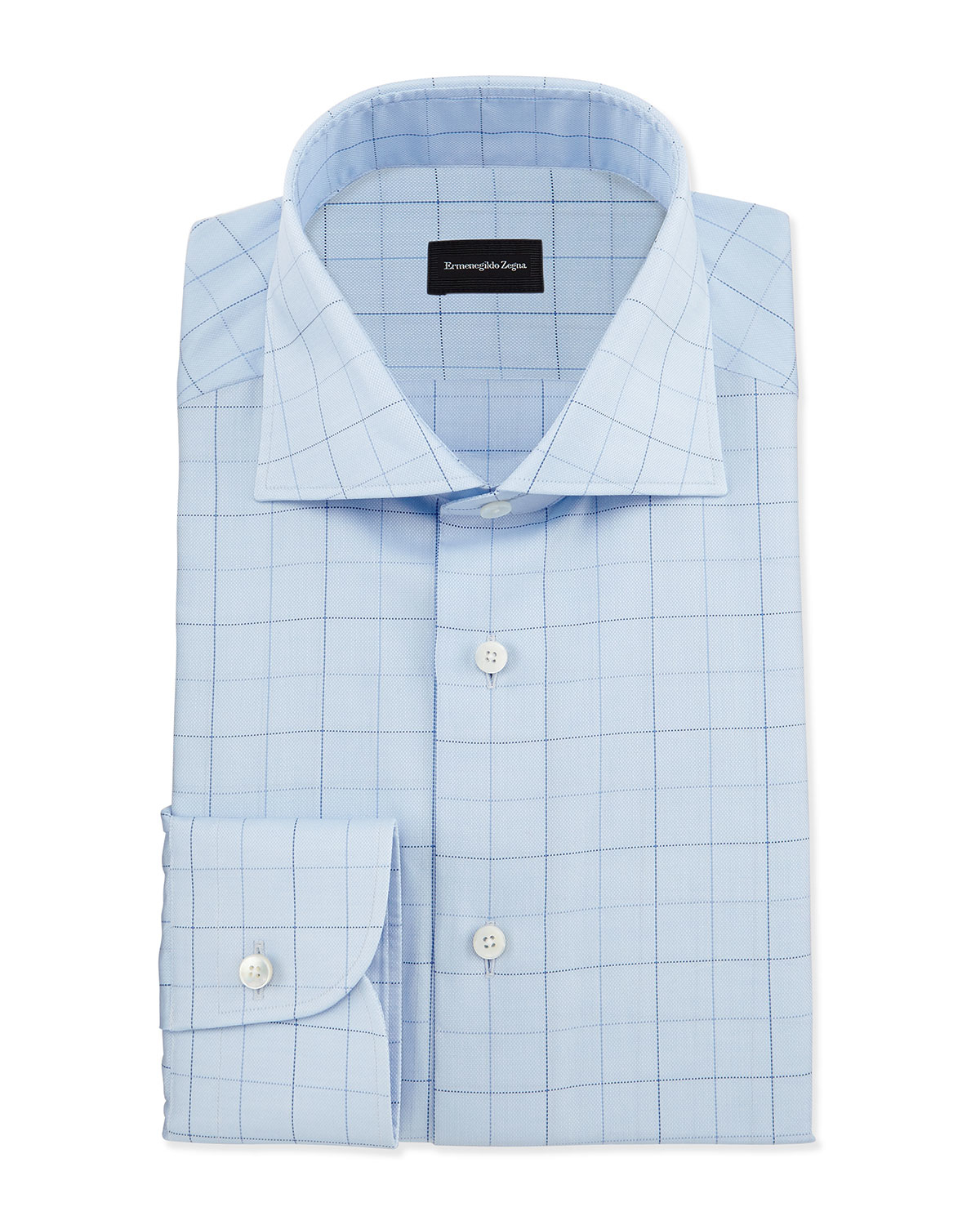 Ermenegildo zegna dotted box check dress shirt in blue for Blue check dress shirt