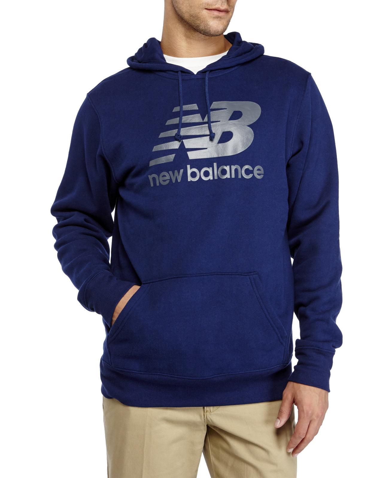 lyst new balance graphic logo hoodie in blue for men. Black Bedroom Furniture Sets. Home Design Ideas
