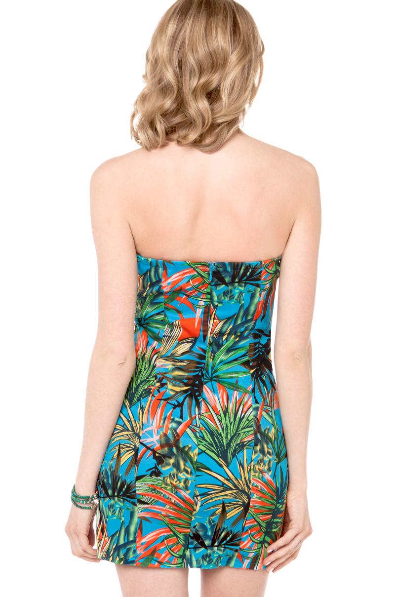 Lyst Akira Tropical Print Strapless Dress In Blue Green