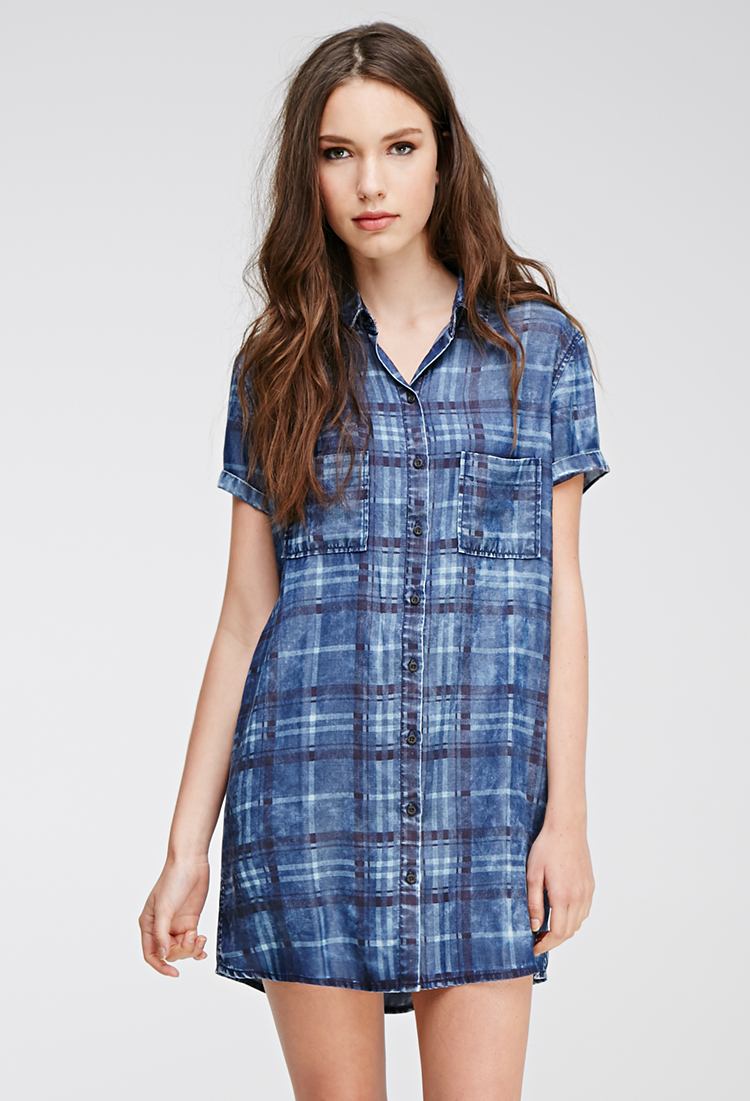 Denim & Co. Plaid Button Front Mandarin Collar Shirt is rated out of 5 by Rated 5 out of 5 by Demelza from MORE COLORS, PLEASE I love these shirts. GARY, PLEASE ALSO MAKE THESE IN SPRING COLORS/5.