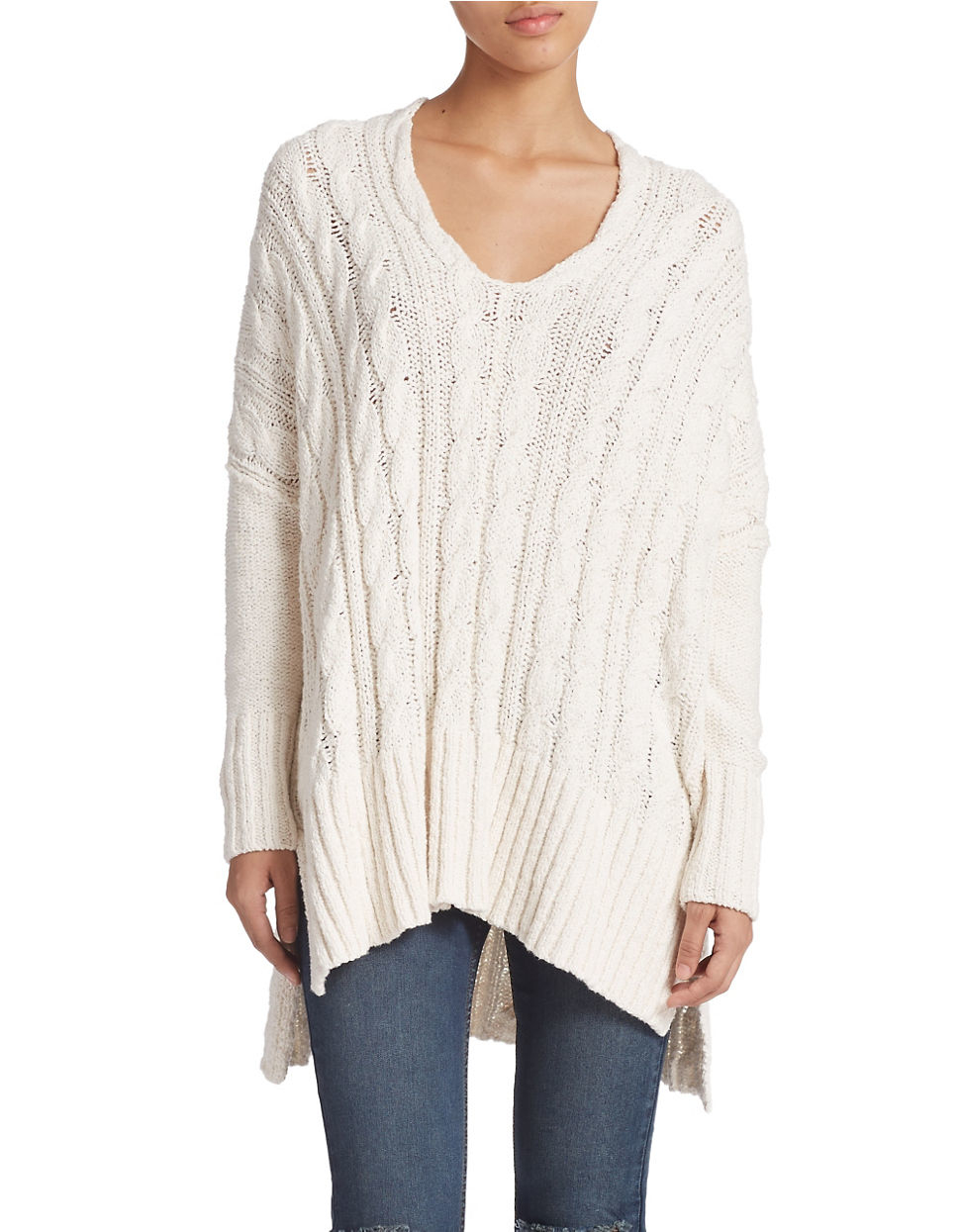 Free people Oversized Cable Knit Sweater in White | Lyst