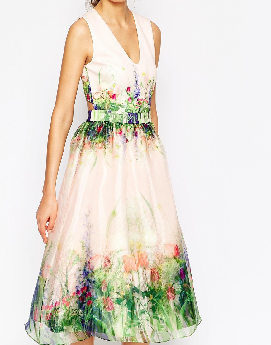 Lyst Asos Salon Beautiful Floral Organza Prom Dress With