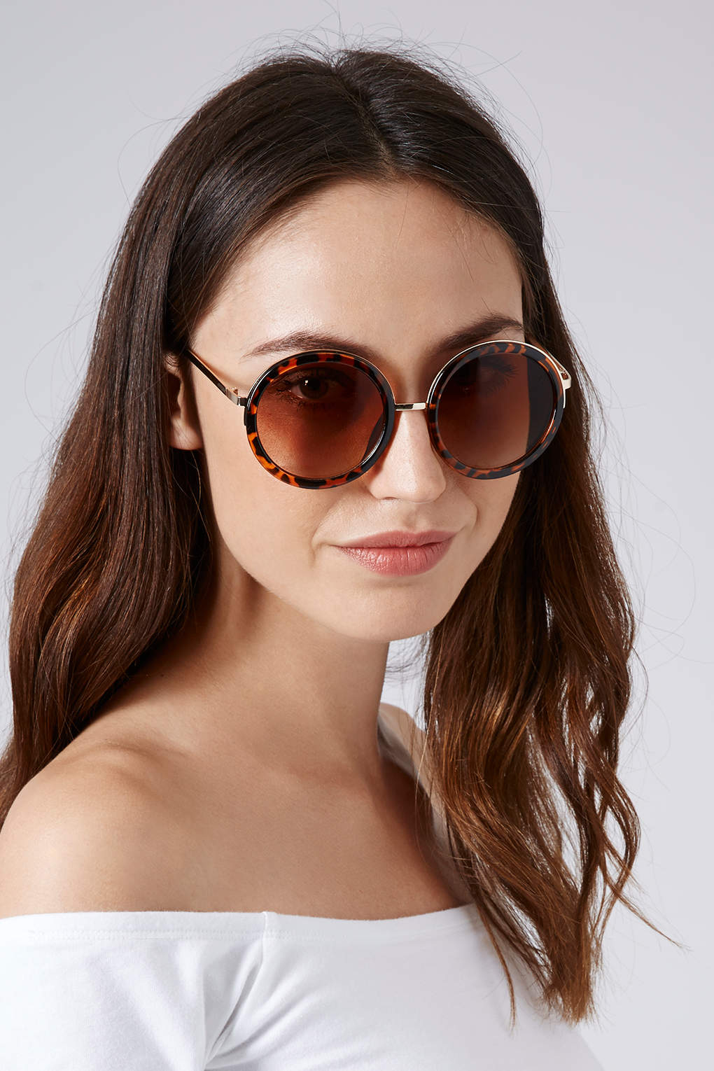 6d707ac56 TOPSHOP Lolita 60s Round Sunglasses Tortoise She in Brown - Lyst