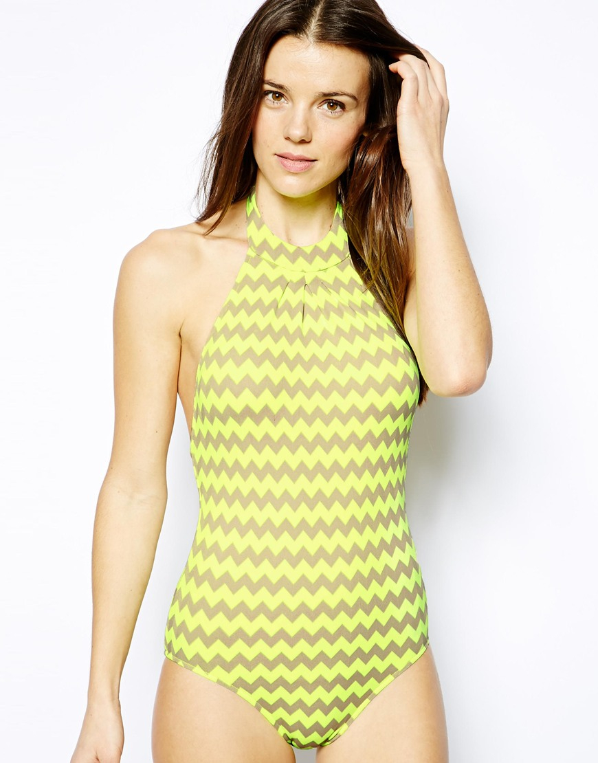 c1d8128696b6b Lyst - Seafolly Mod Club High Neck Maillot Swimsuit in Yellow