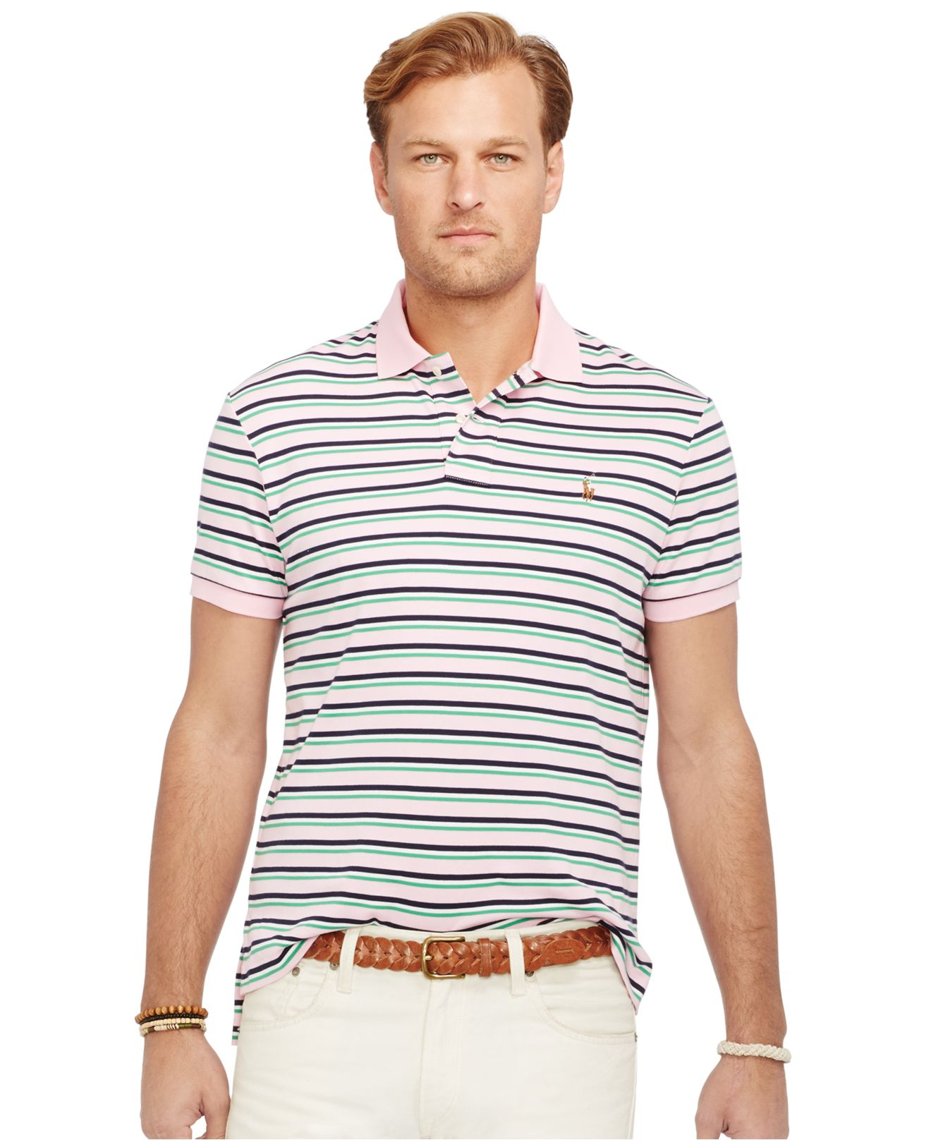 ada4cfc6 Polo Ralph Lauren Big And Tall Striped Pima Soft-touch Polo Shirt in ...