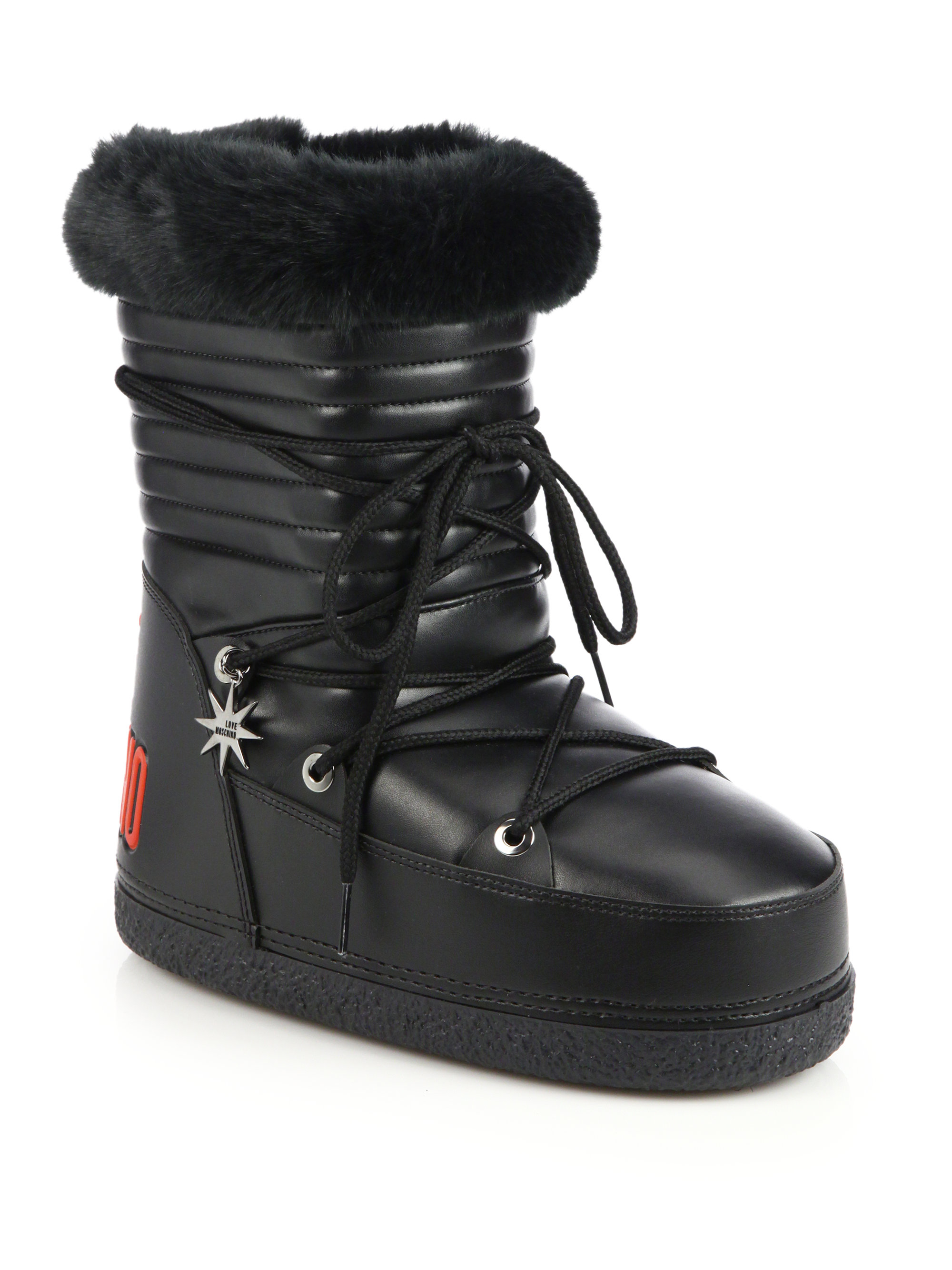Lyst Love Moschino Faux Fur Trimmed Moon Boots In Black