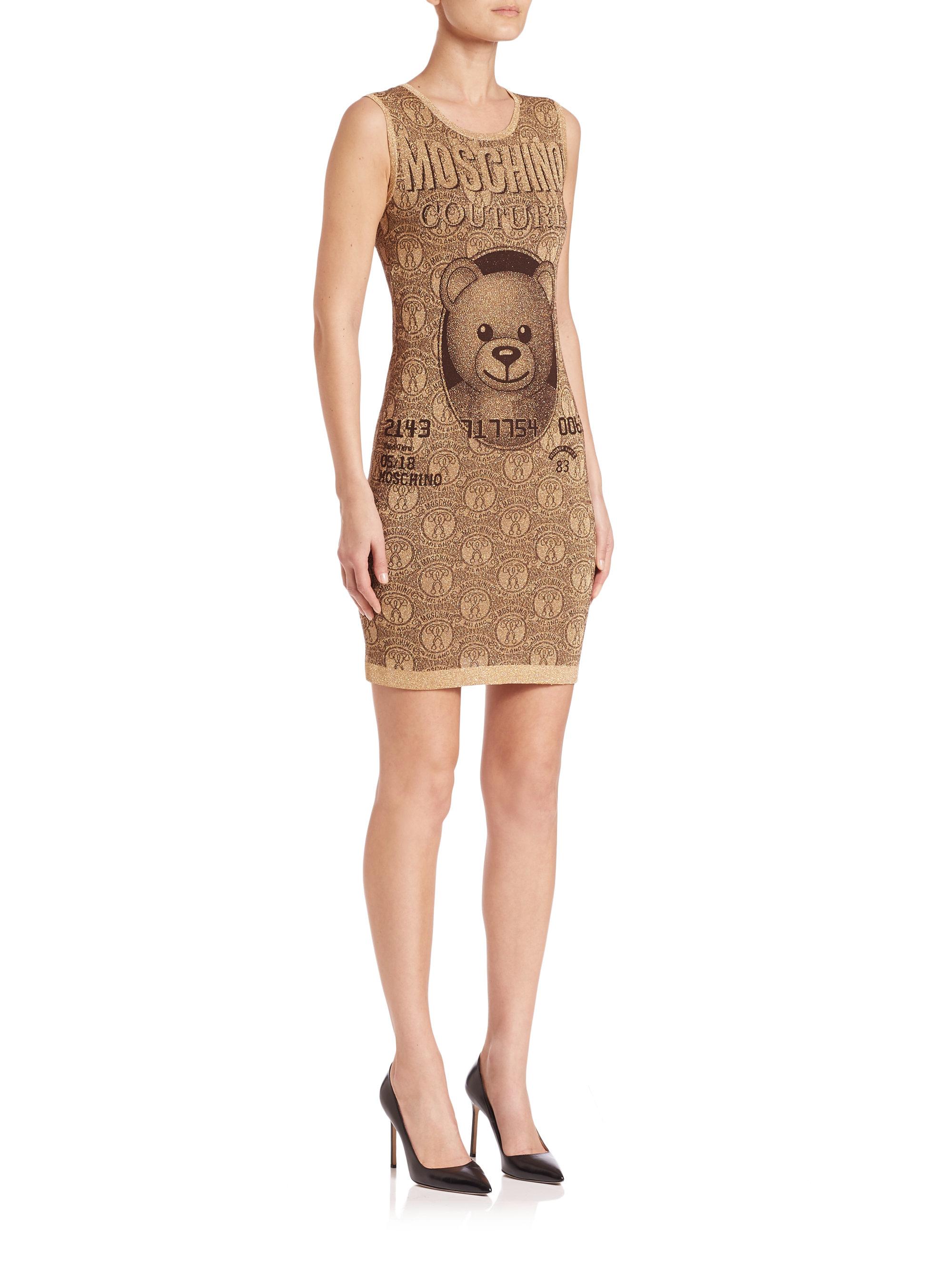 Moschino Sleeveless Bear-print Sheath Dress in Metallic | Lyst
