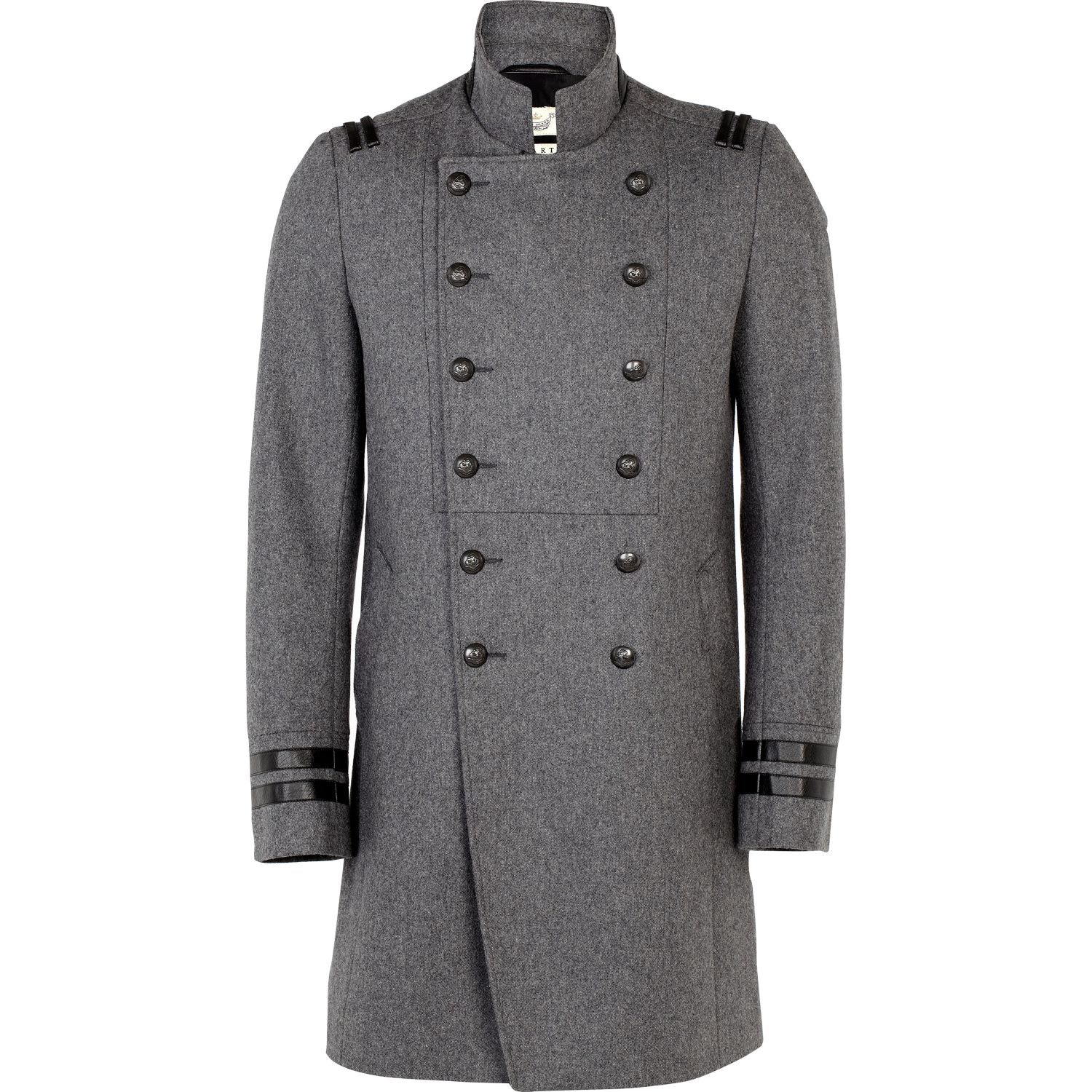 River island Grey Double Breasted Military Coat in Gray for Men   Lyst