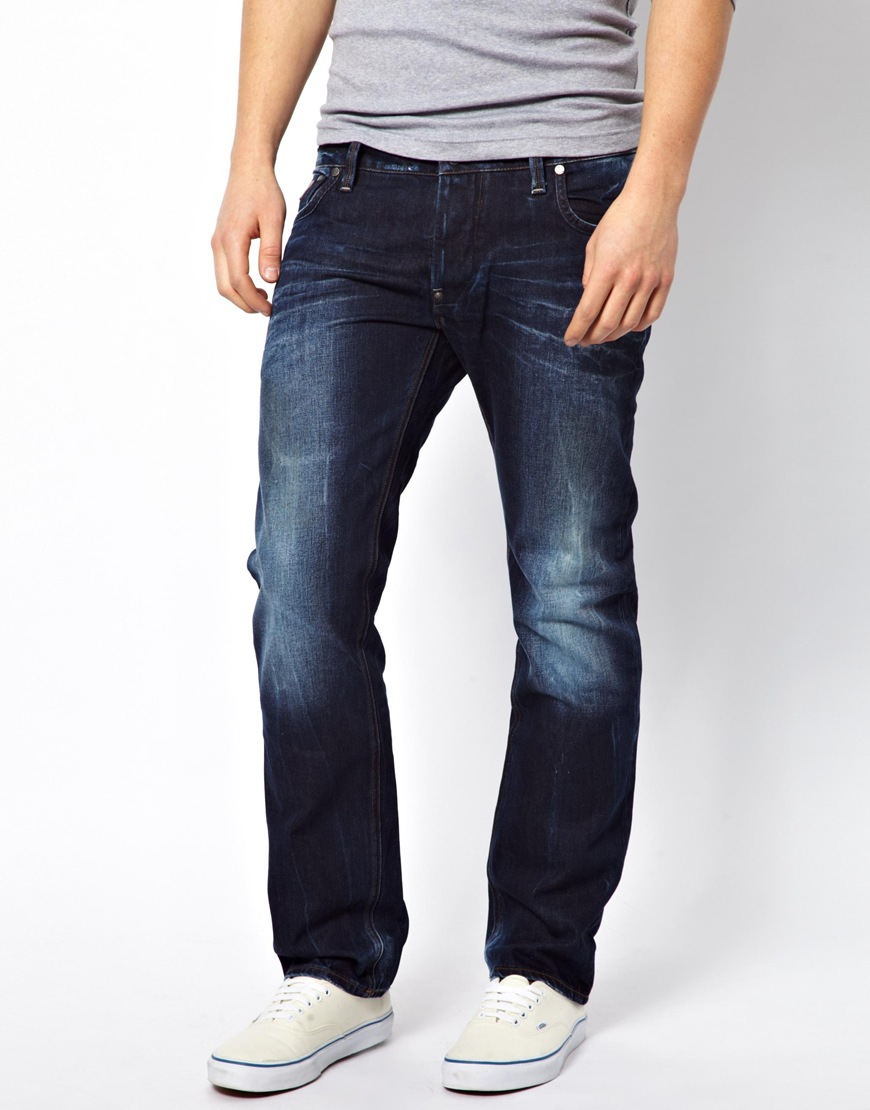 star raw blue g star jeans attacc low straight fit medium aged for. Black Bedroom Furniture Sets. Home Design Ideas