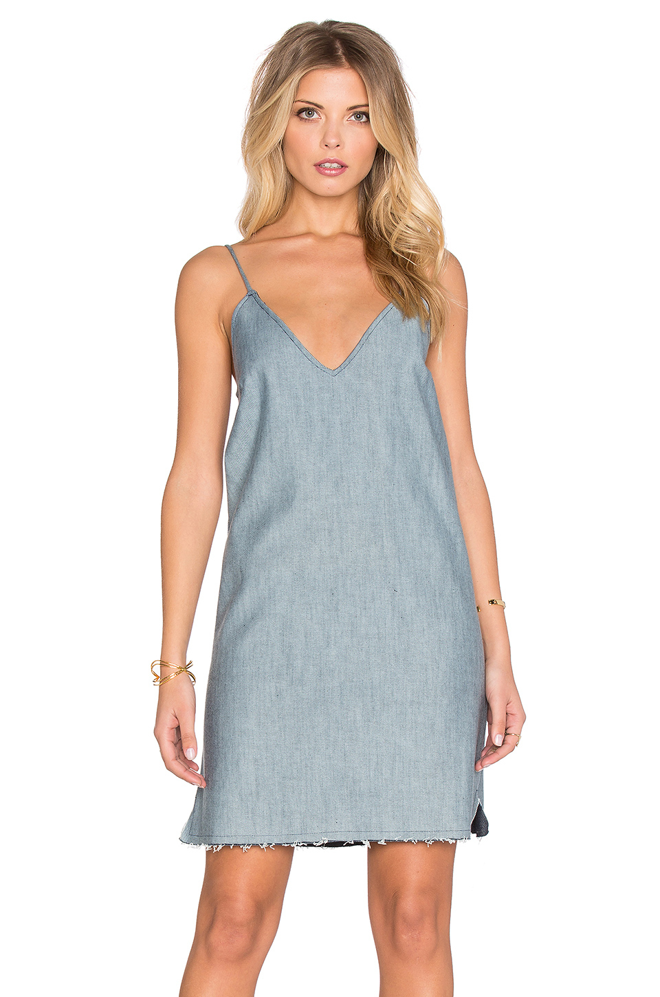 Lucca couture denim slip dress in blue lyst for Couture clothing