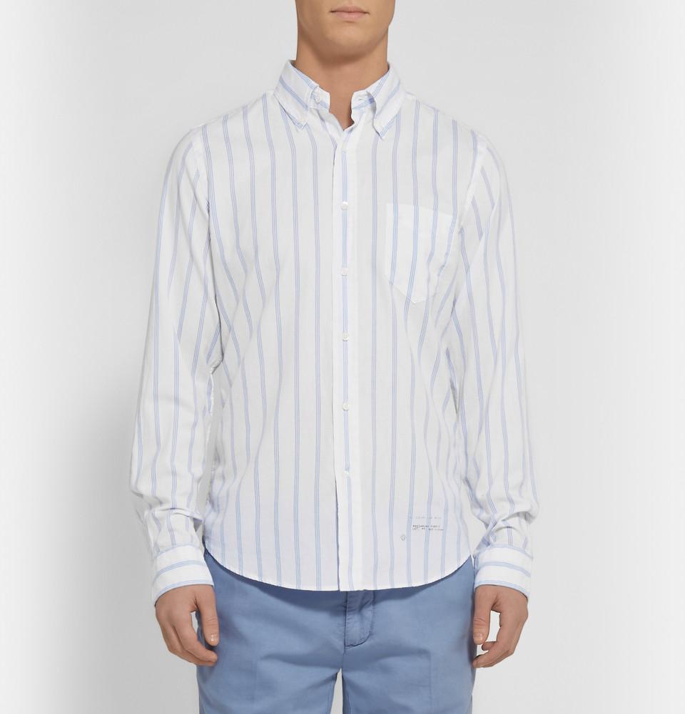 Gant rugger button down collar striped cotton shirt in for White button down collar shirt