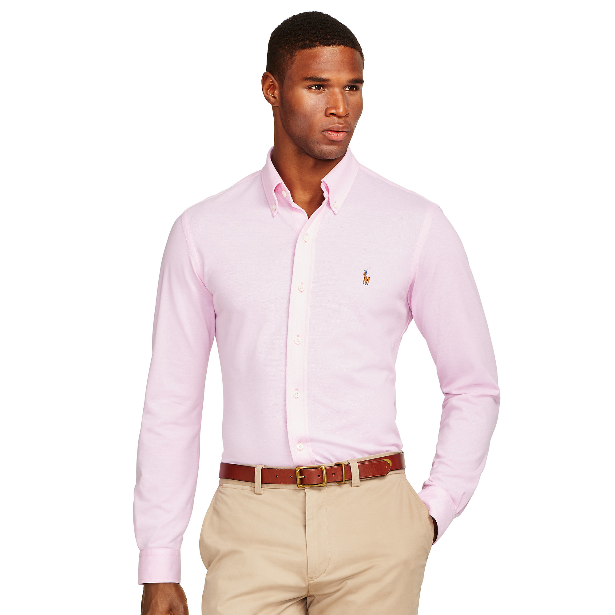 Lyst polo ralph lauren knit oxford shirt in pink for men for Pink oxford shirt men