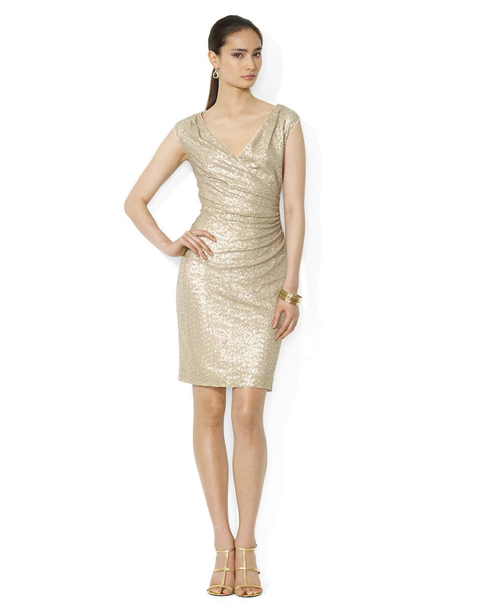 8a986ba2 Lyst - Lauren By Ralph Lauren Capsleeved Sequined Dress in Natural