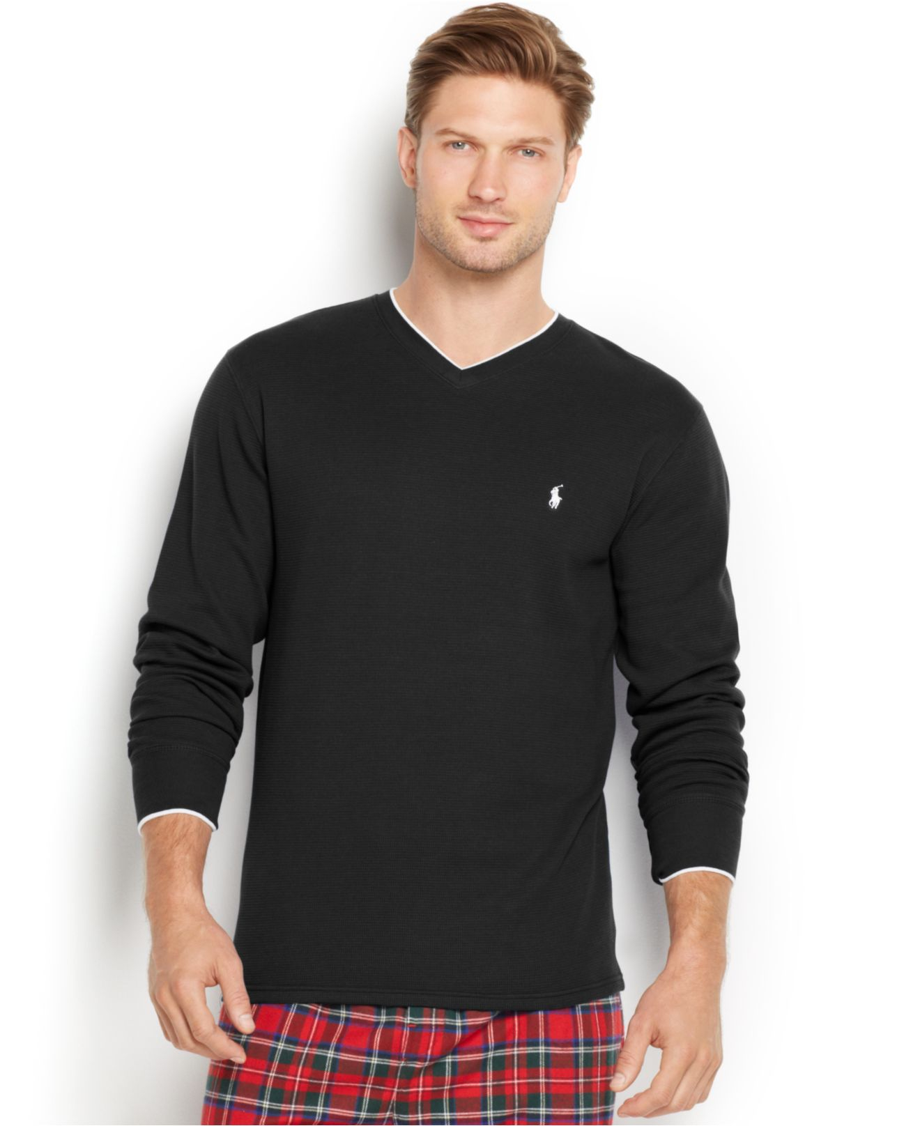 polo ralph lauren men 39 s tipped thermal v neck shirt in black for men lyst. Black Bedroom Furniture Sets. Home Design Ideas