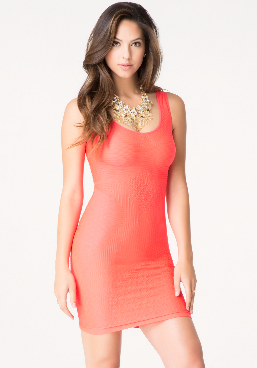 d4fc7eb0 Bebe Textured Back Cutout Dress in Pink - Lyst