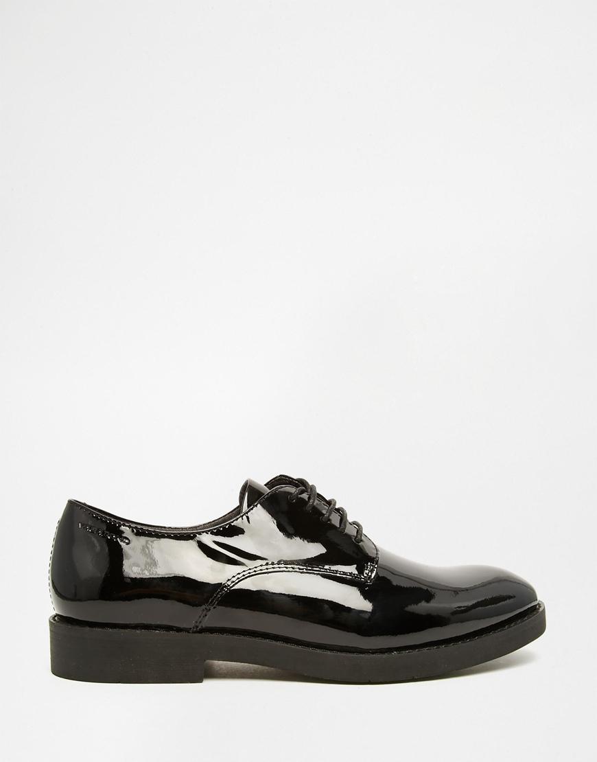 vagabond lejla black patent leather brogue flat shoes in