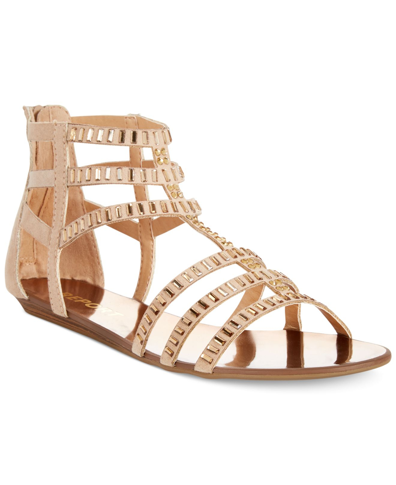 2035ded5fa8c77 Lyst - Report Layshia Rhinestone Gladiator Sandals in Natural
