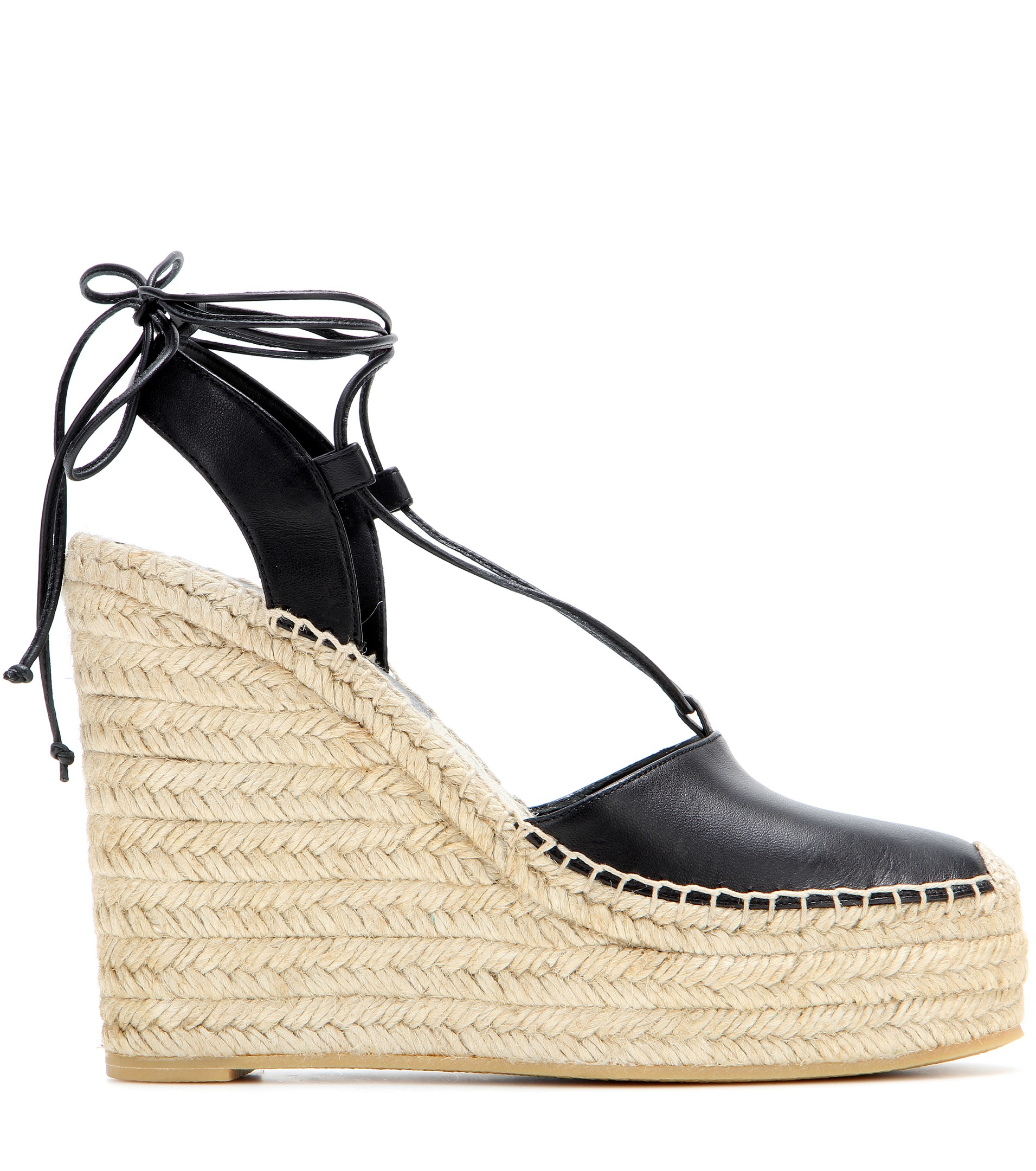 67ce9fa5960 Lyst - Saint Laurent Leather Espadrille Wedge Sandals in Natural