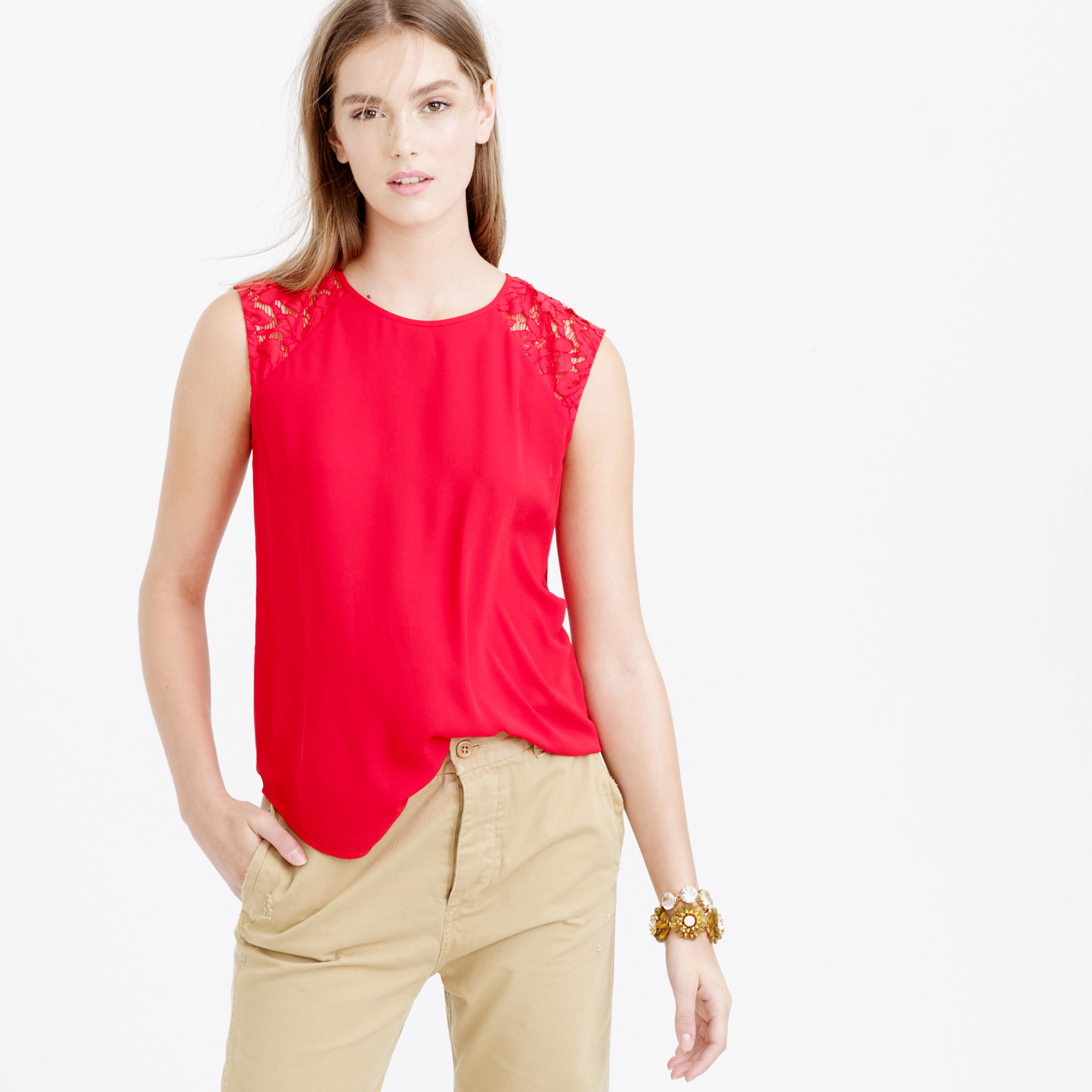cd659b69df8 Lyst - J.Crew Petite Floral Lace-shoulder Top in Red