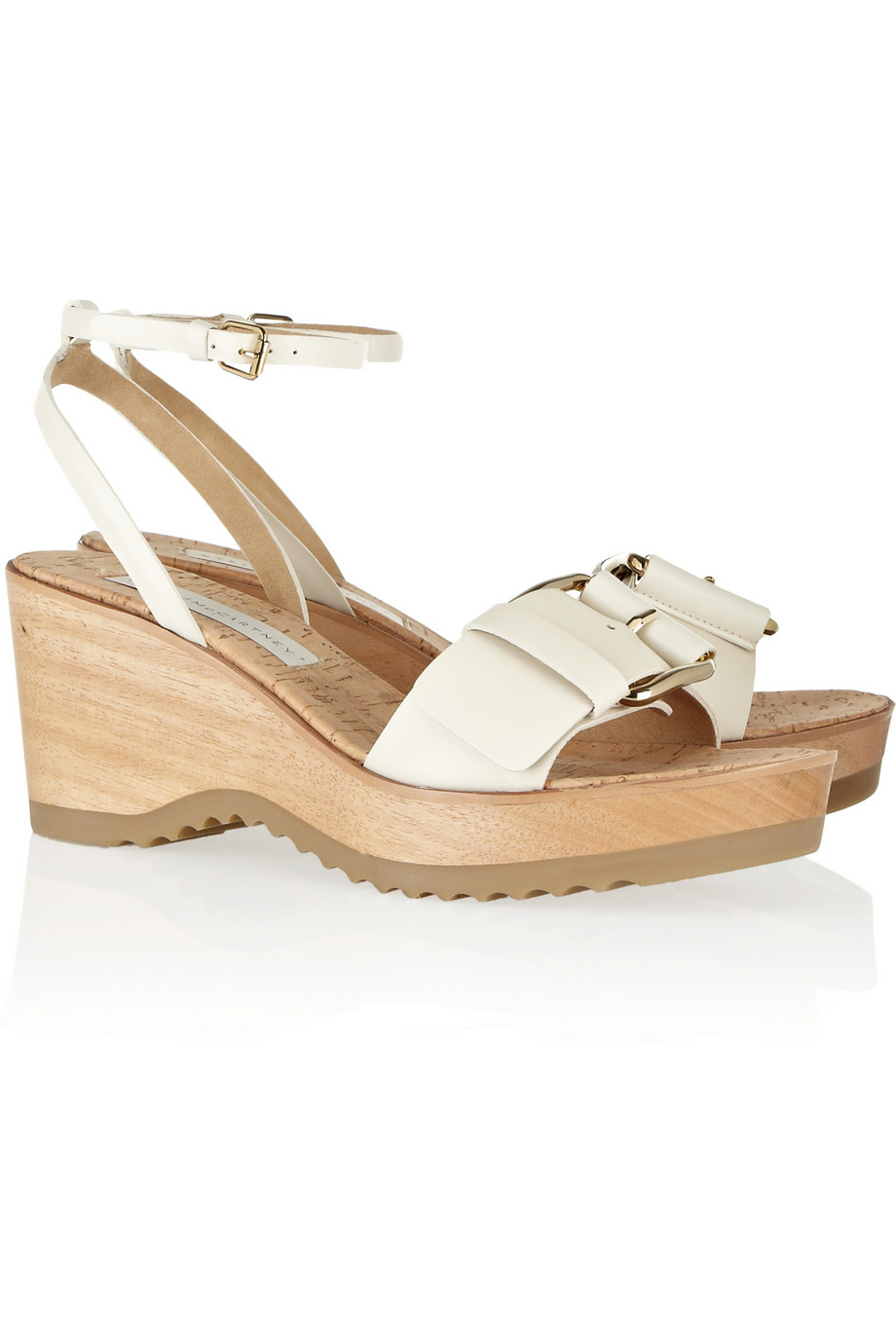 e3168894258 Lyst - Stella Mccartney Faux Leather and Wooden Wedge Sandals in Natural