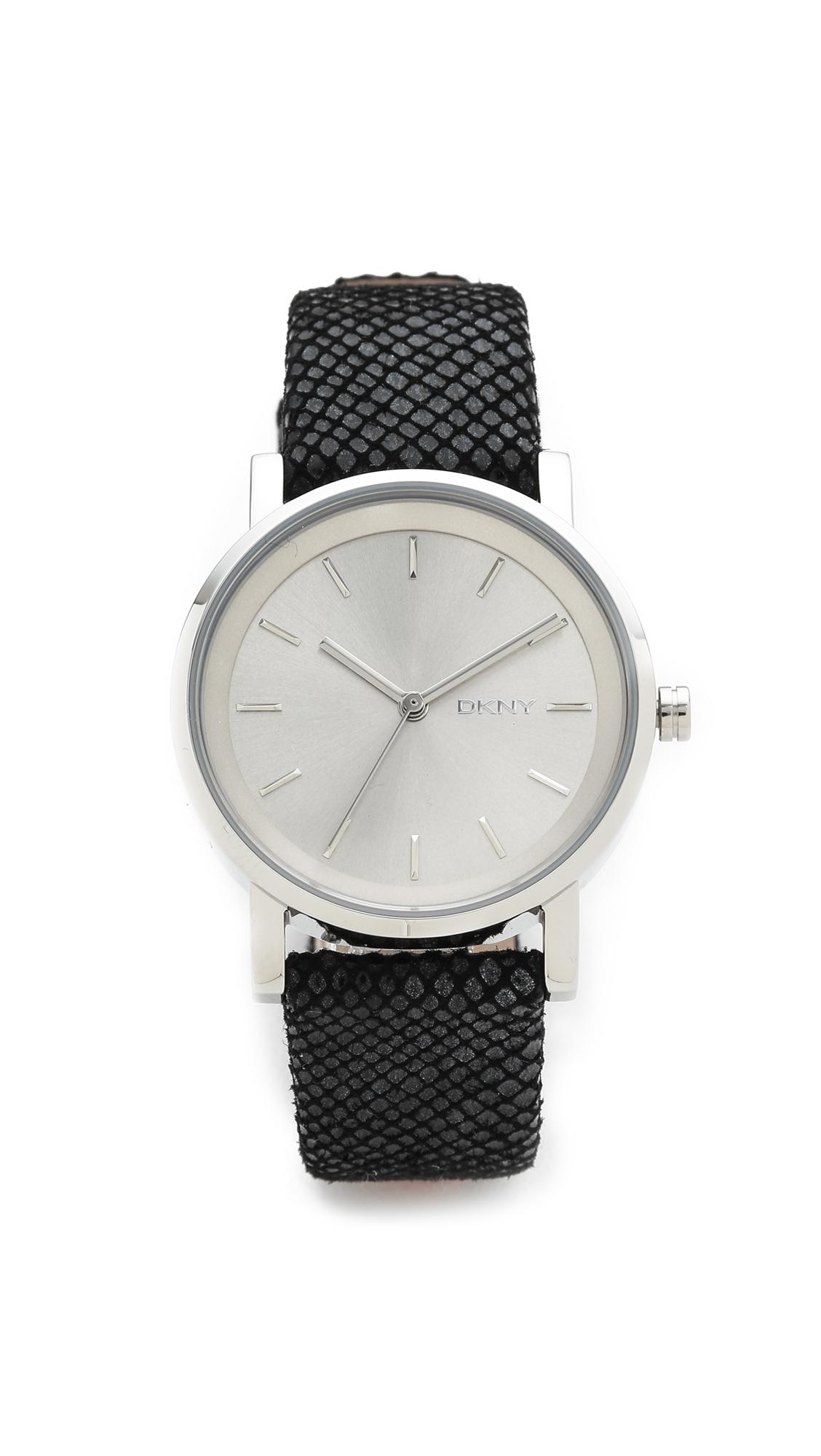 7ed1ddceb DKNY Soho Three Band Leather Watch Set - Silver in Black - Lyst