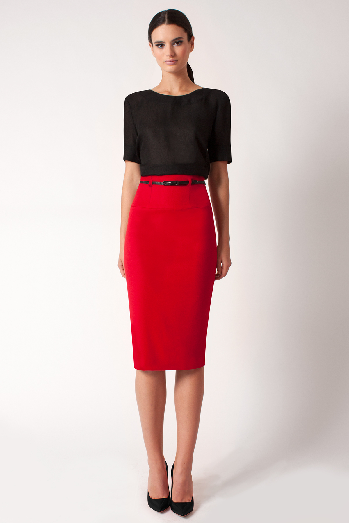Black halo High Waist Pencil Skirt *online Exclusive* in Red | Lyst