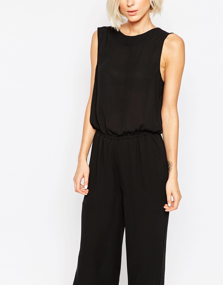 Selected Long Leg Sleeveless Jumpsuit in Black | Lyst