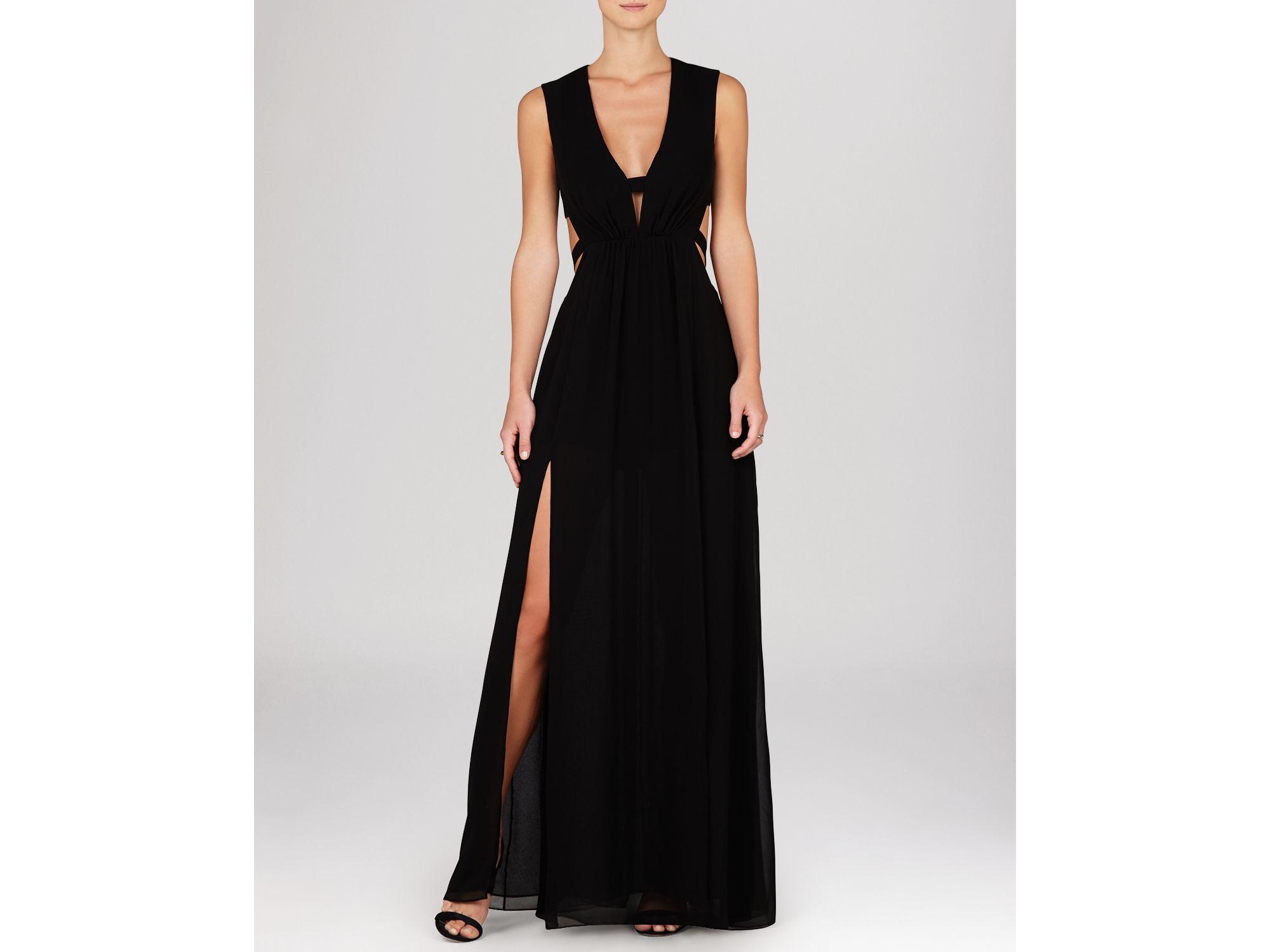Lyst - Bcbgmaxazria Gown - Ava Sleeveless Deep V-neck Cutout in Black