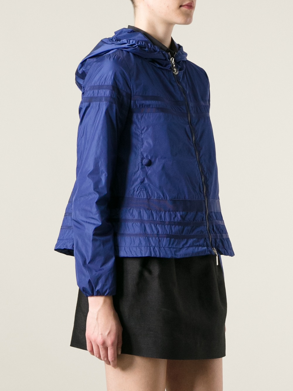 Lyst Moncler Striped Waterproof Jacket In Blue