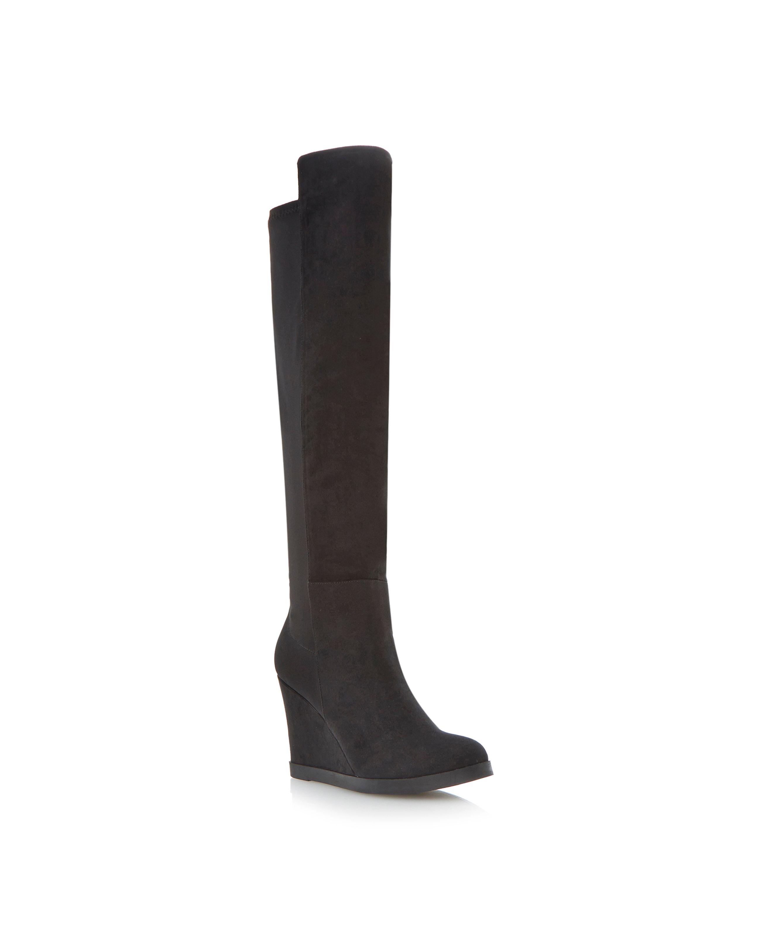 Dune Safiya Wedge Heel Over The Knee Boot in Black | Lyst