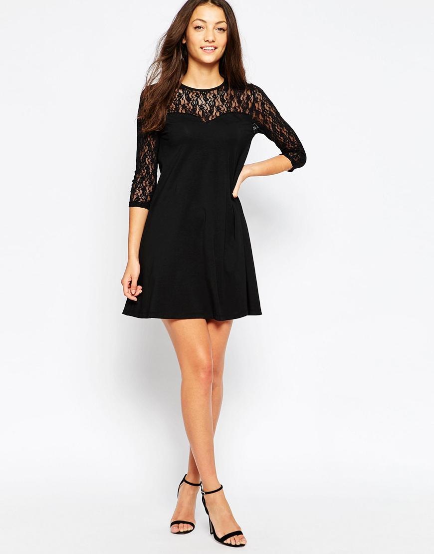 Lace Ruffle Dress - Black Vero Moda 6ZyIQlB6oZ