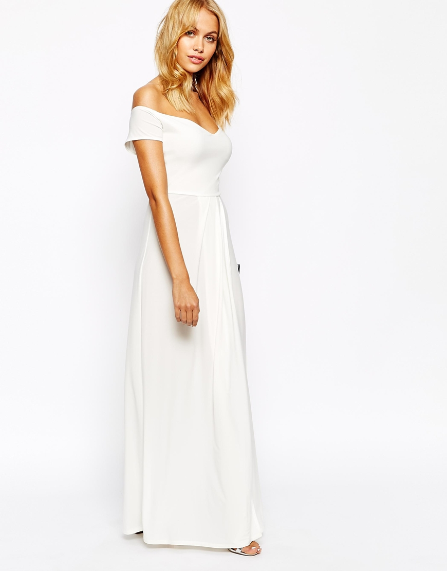 c46e6df7f702 Love Off Shoulder Slinky Maxi Dress With Thigh Split in White - Lyst