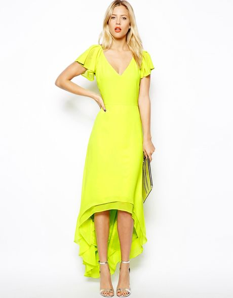Asos High Low Hem Maxi Dress in Yellow (Chartreuse) | Lyst