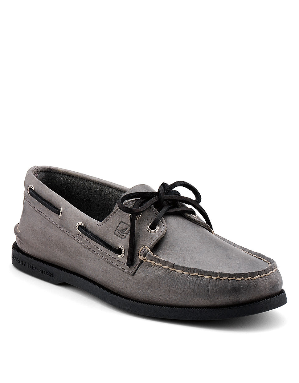 Sperry top-sider Ao 2-Eye Leather Boat Shoes in Gray for Men | Lyst