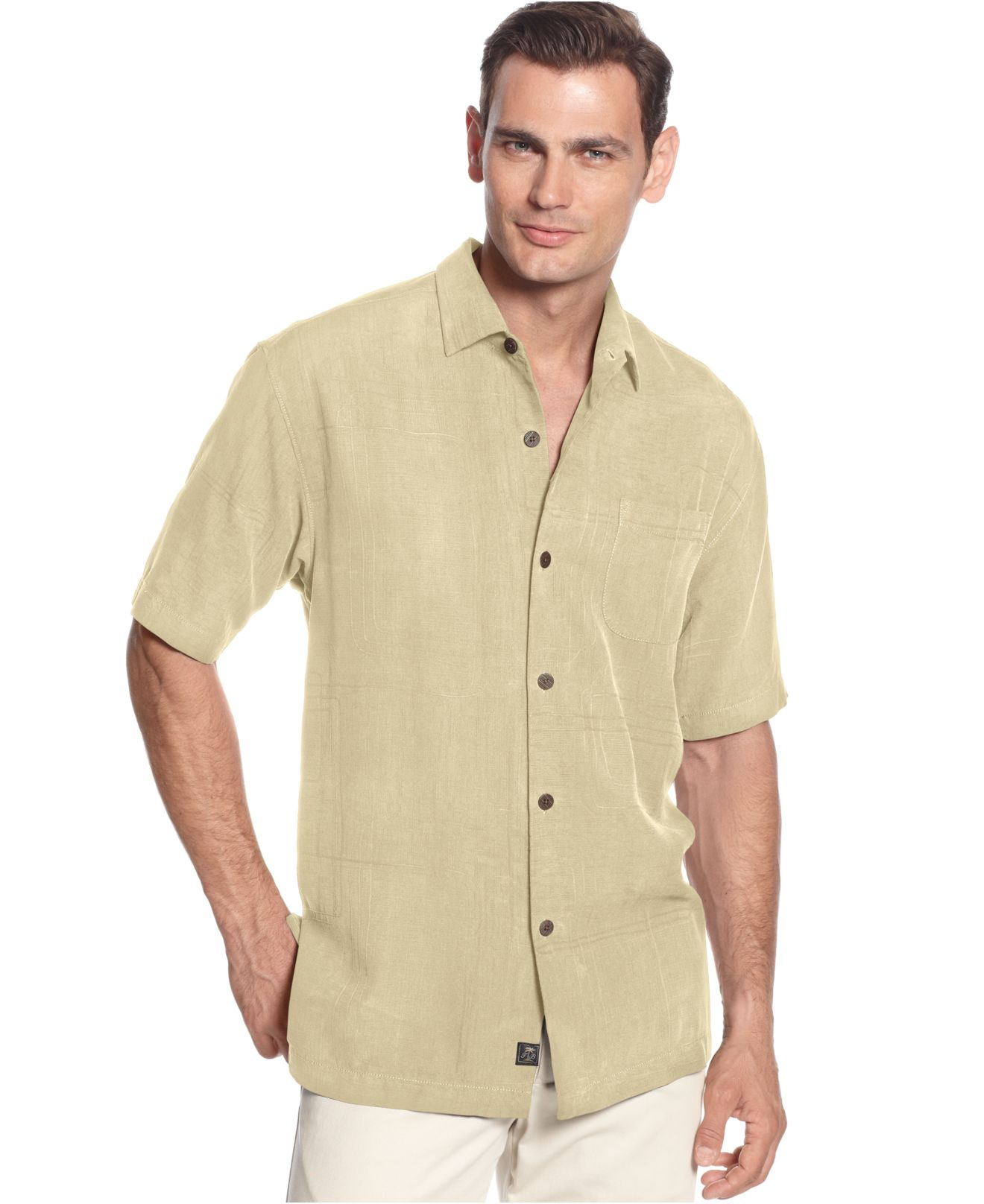 Tommy Bahama Island Geo Silk Shirt In Beige For Men Straw