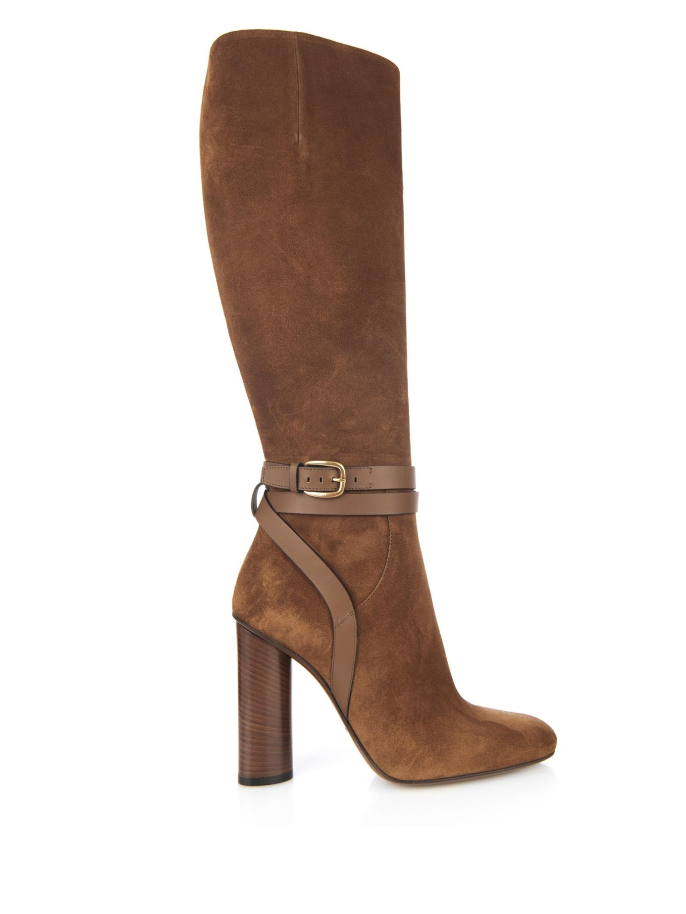 Gucci Suede Knee-High Boots in Brown | Lyst