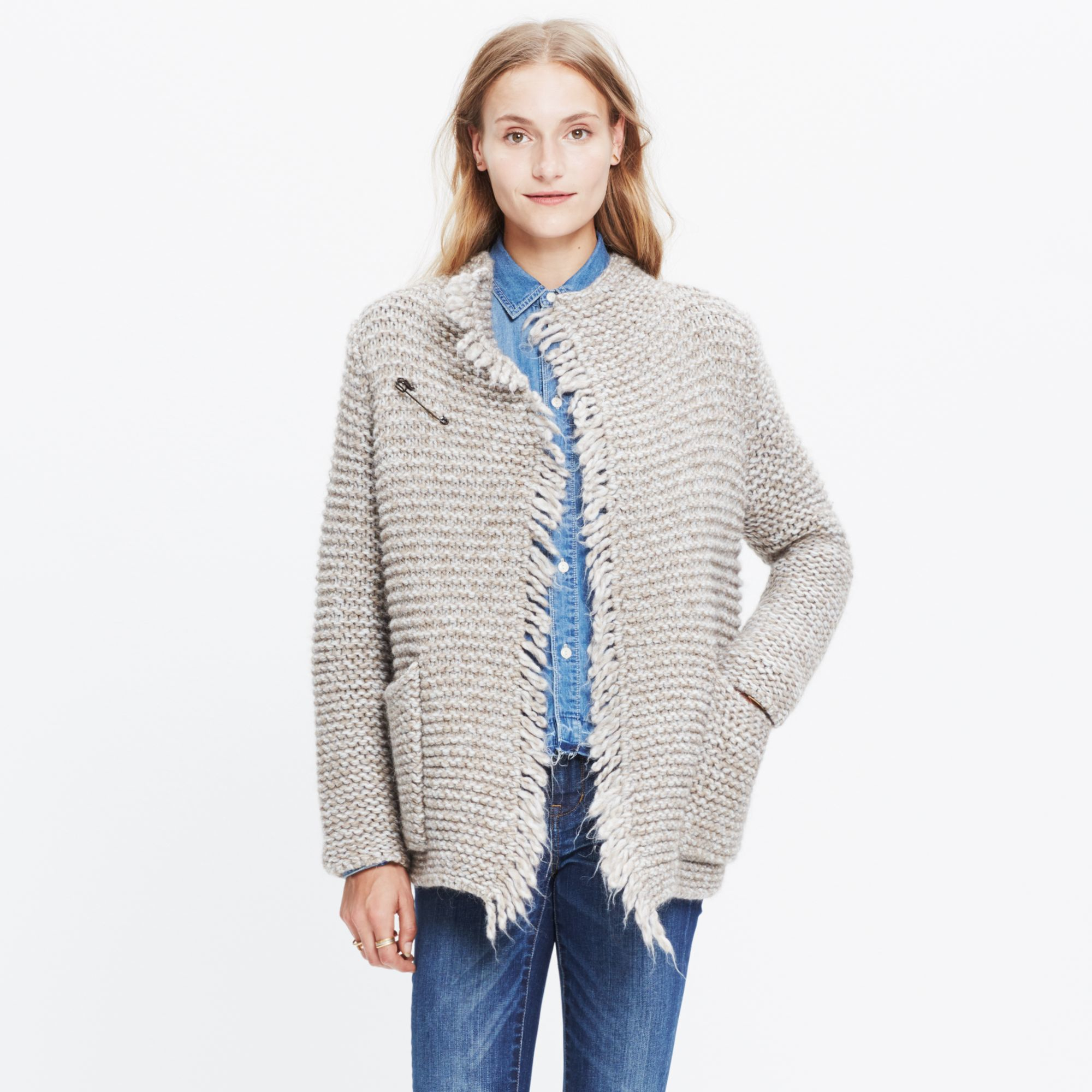 Madewell Fringe Open Cardigan Sweater in Natural   Lyst