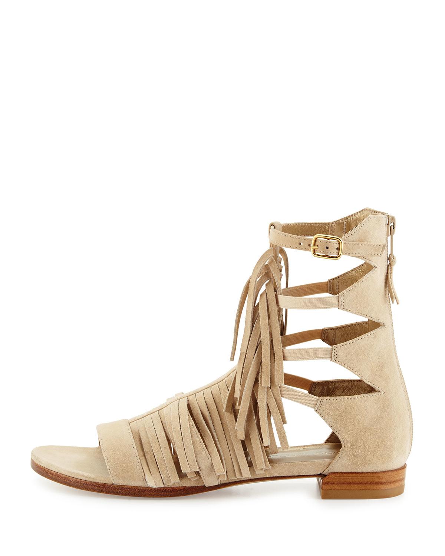 Stuart Weitzman Suede Fringe Sandals with credit card sale online VvG4eRt