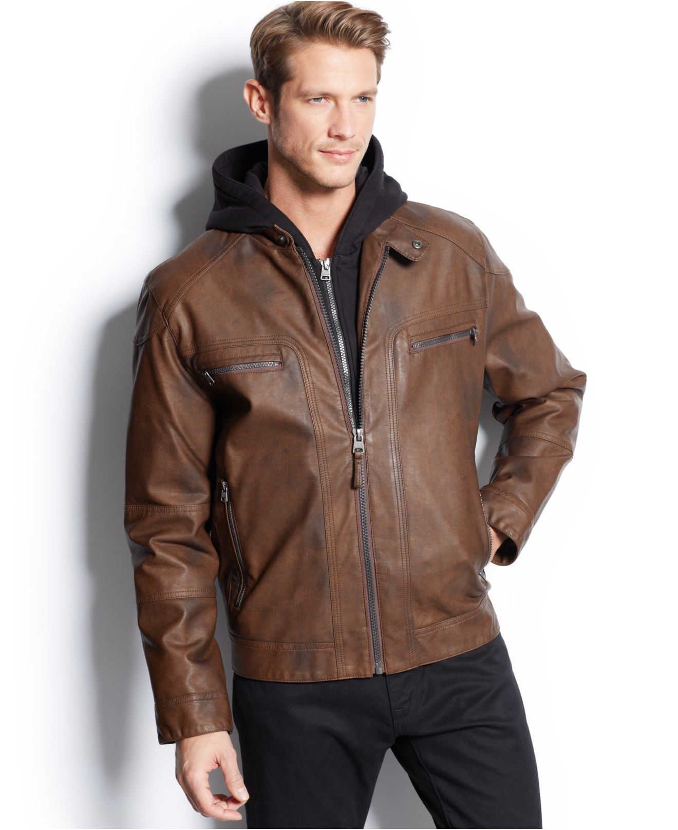 Calvin klein Hooded Faux Leather Moto Jacket in Brown for Men | Lyst