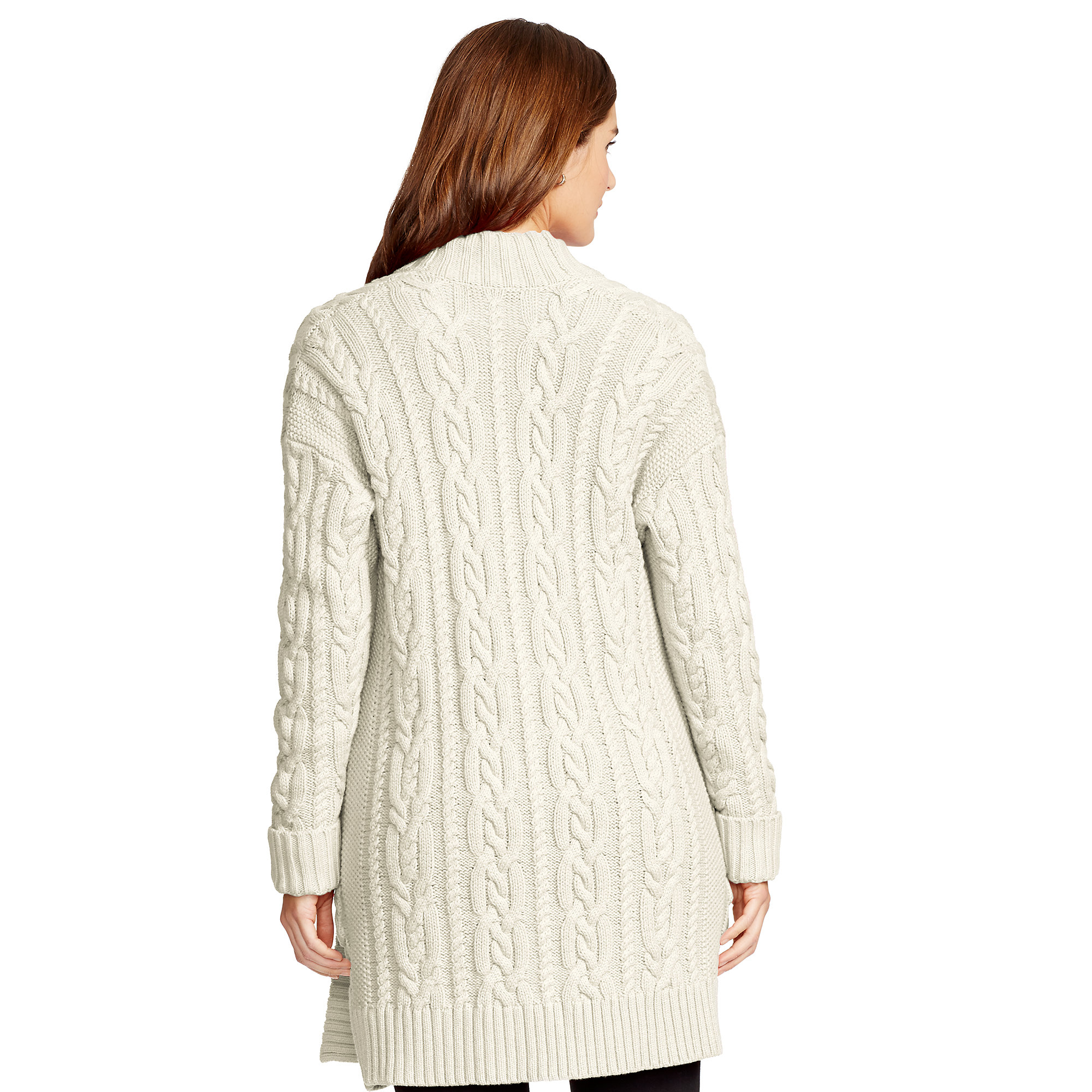 Ralph lauren Cable-knit Cotton Cardigan in Natural | Lyst