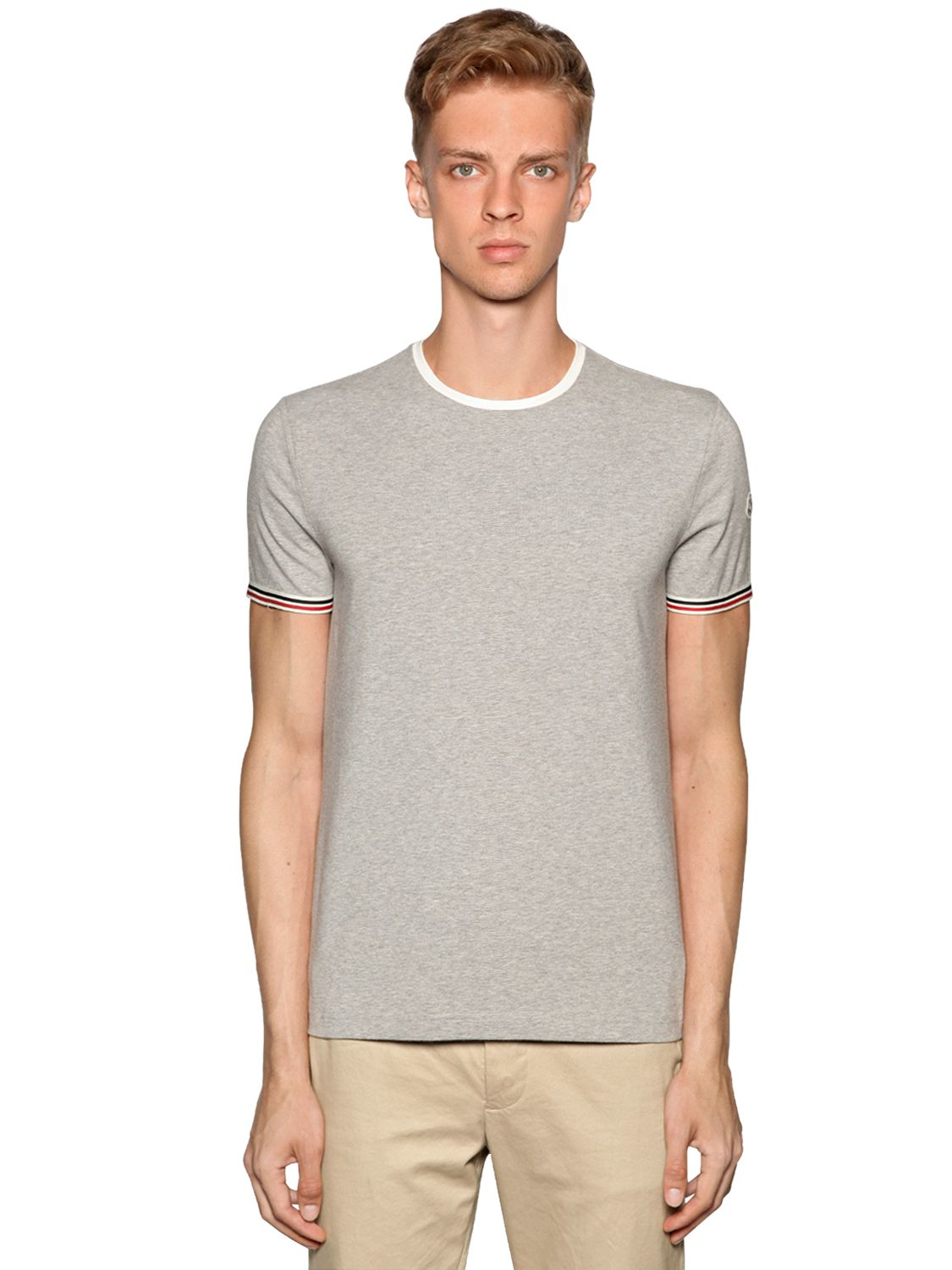 Lyst moncler slim fit stretch cotton jersey t shirt in for Slim fit cotton shirts