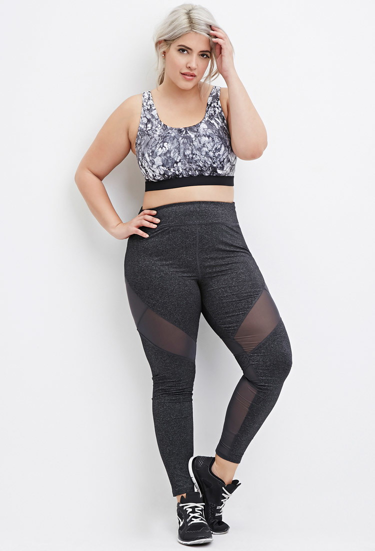 Forever 21 Plus Size Heathered Mesh-panel Athletic Leggings in ...
